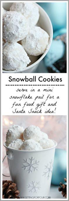 These+Snowball+Cookies+look+like+adorable+mini+snowballs!+Fabulous+DIY+Christmas+gift+Idea+and+Santa+Snack+idea+too!+www.settingforfour.com