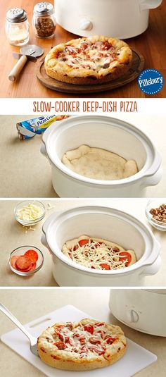 Deep dish pizza made in a slow-cooker? You heard us right. You'll be amazed at how easy it is to put together and how delicious it comes outs. This Chicago style pizza cooks all the crust evenly and m(How To Make Bread In A Crockpot) Crockpot Dishes, Crock Pot Slow Cooker, Crock Pot Cooking, Slow Cooker Recipes, Cooking Recipes, Budget Cooking, Pizza Recipes, Cooking Ideas, Cooking Rice