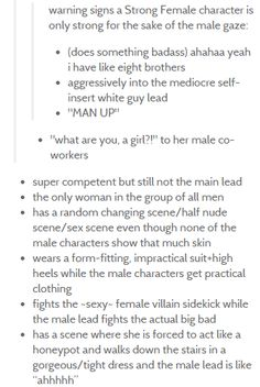 "Warning Signs that the ""Strong Female Character"" in the movie is it strong for the sake of the male gaze..."