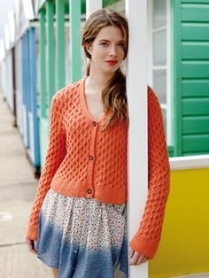 Knit this womens cable cardigan from the Softknit Collection, a design by Martin Storey using Softknit Cotton, a wonderful cotton drape yarn (cotton and polyamide). With v neck, stocking stitch edgings and set in sleeves, this knitting pattern is suitable for the average knitter.