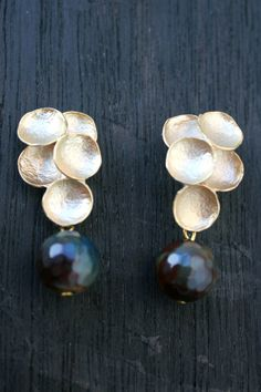 16K Gold plated grape stud earrings by JewelsofSayuri on Etsy
