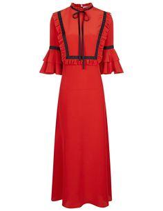VIVETTA Red Ruffle Bib Midi Dress. #vivetta #cloth #dress