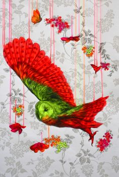 Wild Atmosphere, acrylic and pencil on wallpaper, 55x65cm (5/2013) by Louise McNaught