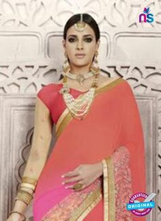 AZ 3899 Pink And Peach Georgette Party Wear Saree