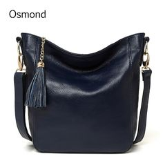 9862ef388d Osmond Shoulder Bags Women Messenger Bags Genuine Leather Handbags Tassels  Casual Crossbody Tote Bags Bucket Bag