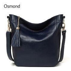 9385ccfec648 Osmond Shoulder Bags Women Messenger Bags Genuine Leather Handbags Tassels  Casual Crossbody Tote Bags Bucket Bag