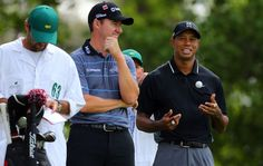 Tiger Woods and Jimmy Walker wait to hit from the #4 tee         in the 2015 Masters @Augusta National in Round 2