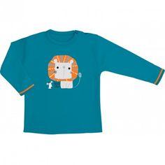 Tee shirt, interlock de coton bio bleu électrique, manches courtes, 'Mini Lion''
