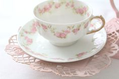 Antique GDA Limoges France Handpainted Tea Cup and Saucer Cottage Style Tea Gathering Ca. 1900 - 1941