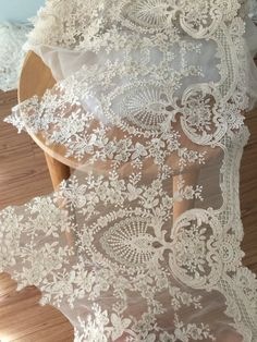 Gorgeous Alencon Lace Trim in champagne Cream with by Retrolace
