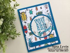 Sara Levin | theartfulinker.com Handmade birthday card invitation using Beetles and Bugs ( Stampin' Up! ) Perfect for bug themed birthday party occasions.  Click for details!