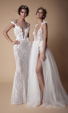 Beautiful cold shoulder and illusion embroidered straps on sheath and A-line wedding gowns with sexy plunging necklines and soft, wispy tulle // The second Muse collection from Berta bridal is sexy yet sweet and features sheer fabrics, illusion bodices, intricate lace, wispy tulle, floral embroidery, high slits, skinny straps, plunging necklines, shimmering details, collared bodices, and cold-shoulder sleeves.