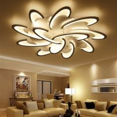 LICAN Modern LED Ceiling Chandelier Light White Black Chandeliers Fixtures For Living Room Bedroom Dining Study Room Warm heads White body lighting House Ceiling Design, Ceiling Design Living Room, Bedroom False Ceiling Design, Home Ceiling, Ceiling Chandelier, Bedroom Ceiling, Living Room Lighting, Living Room Designs, Ceiling Light Living Room