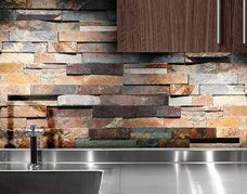 A rustic yet elegant showstopper, PietraArt Ledgerstone from Florida Tile is a hand-assembled, three dimensional panel made from the finest natural stone. Made from slate and crosscut or vein-cut marble and travertine. Flooring Store, Tile Flooring, Kitchen Backsplash, Travertine Backsplash, Stone Tiles, Kitchen And Bath, Three Dimensional, Wall Tiles, Old World