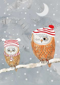 These little owls are very snug in their knitted hats!    This owl illustration was originally painted in watercolor, it has a collage background
