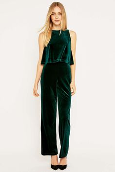 Urban Renewal Vintage Remnants Green Velvet Jumpsuit