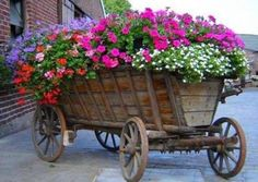 wagon with load of beautiful flowers, colors are so pretty!!