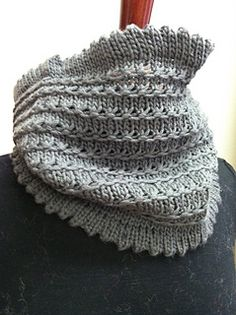 Lovely picot edge at top and bottom of this cowl. A simple 5 row repeat gives this cowl wonderful texture.