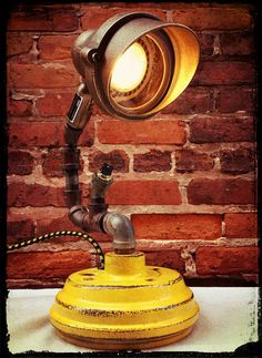 No. 67  Reclaimed Brass Spot Light Salvaged by RetroSteamWorks, $194.95