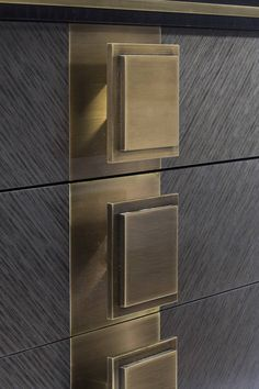 Love the brushed metal knobs. Brendan Wong Design.