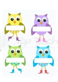 Printable Owl Name Tags Desk name labels blue