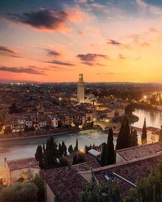 Verona at sunset #italy #verona #sunset