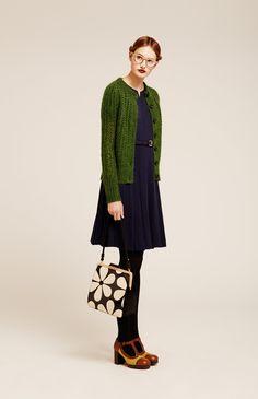 Orla Kiely 2014, oh a cardigan, those darling shoes, and splendid purse.