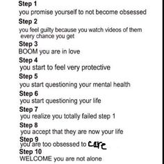 Steps to becoming a fangirl.