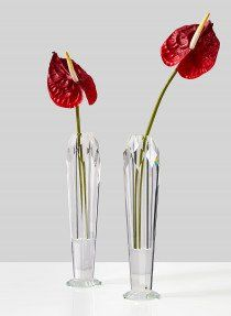 glass crystal bud vase with anthurium