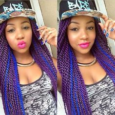 """""""#braids #twist #purplehair #bluehair who wants ? Might be my next style #funky"""""""