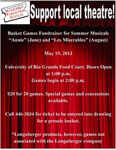 Support Local Theatre! RTG to hold basket games fundraiser!