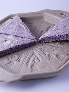 Lavender shortbread.  Shortbread mold: http://www.emersoncreekpottery.com/bakeware/thistles-shortbread-pan.shtml