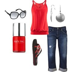 Bright red top - like the cut too (work or weekend) and jeans