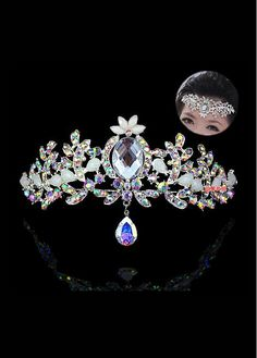 Buy discount In Stock Amazing Czench Rhinestones & Alloy & Rhinestones & Man-made Crystal Silver-plated Tiara at Dressilyme.com