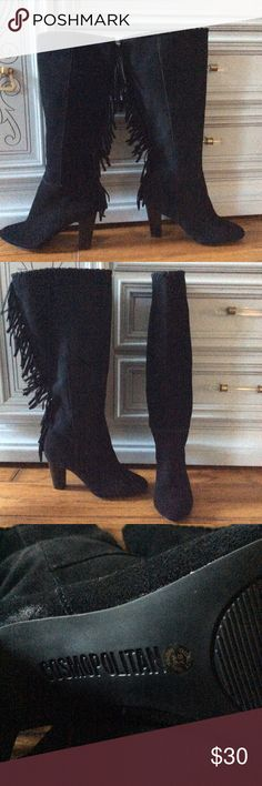 """NWOT COSMOPOLITAN HEELED BOOTS WITH FRINGE SIZE 6M NWOT COSMOPOLITAN HEELED BOOTS WITH FRINGE SIZE 6M...FRONT PLATFORM IS 3"""" TOP TO FLOOR 18"""".  SORRY NO TRADES...**** Cosmopolitan Shoes Heeled Boots"""