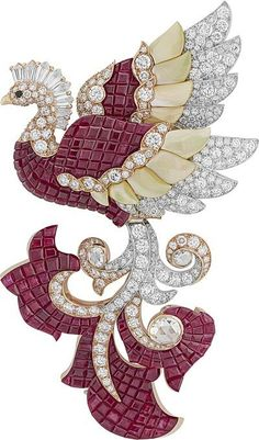 """Noah's Ark (Arche de Noé) Collection - """"Phoenix"""" clip : White Gold, rose Gold, red Gold, rose-cut and round Diamonds, black Spinels, Mother-of-Pearl and Rubies by ©Van Cleef & Arpels"""