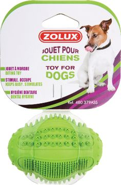 """Rubber toy """"Oval Dental Ball"""" assorted green - Toys that last and last! - This range of very sturdy, long-lasting rubber toys will help your dog be well-balanced and learn, as well as encouraging special times between master and dog. More informations on zolux.com  #dog #zolux"""