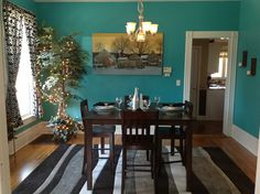 Teal dining room.