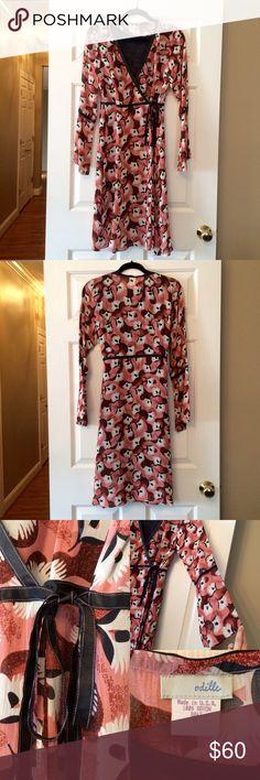 Anthropologie 70's Style Odille Wrap Dress, sz8 Odille wrap dress with black slip dress.  Size 8. Anthropologie Dresses Midi