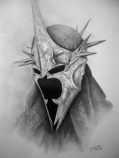 Witch King of Angmar. Art by our brilliant friend Darrel, Graphite Portrait Artist. Jrr Tolkien, Lotr Tattoo, Tolkien Tattoo, Pencil Drawings, Art Drawings, Witch King Of Angmar, Arte Game Of Thrones, Lord Of The Rings Tattoo, White Tattoos