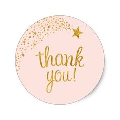 Thank You Shooting Star Pink Gold Baby Shower Classic Round Sticker Twinkle twinkle little star themed baby shower thank you stickers. Featuring faux gold glitter stars and accents of soft pink. Baby Shower Gift Bags, Baby Shower Thank You, Gold Baby Showers, Star Baby Showers, Logo Rond, Just Peachy, Twinkle Twinkle Little Star, Shooting Stars, Round Stickers