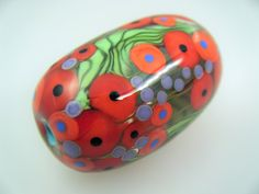 Moogin Beads- Detailed poppy field oval focal lampwork / glass bead   - SRA by mooginmindy on Etsy