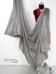 Grey Shimmer Saree with Diamond and Mirror Work