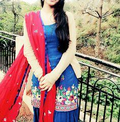 Blue red punjabi suit
