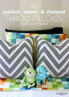 The quickest, easiest, and cheapest throw pillows you will EVER make - using a body pillow!