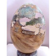 """galerie d'art en ligne Belartvita, Oeuf sculpté et peint motif """"paysage asiatique""""  Beautiful carving by Christel Assante, France"""