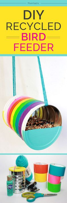 10 Super Simple DIY Bird Feeders For Spring! DIY Duct tape bird feeder - click through to see more fantastic Bird Feeder diy tutorials. The perfect spring project/diy idea! If love crafts and spring time then this list is for you. This rainbow bird feeder Diy Craft Projects, Projects For Kids, Diy For Kids, Crafts For Kids, Diy Crafts, Recycling Projects, Quick Crafts, Simple Crafts, Recycled Tin Cans