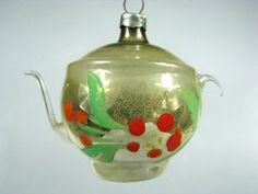 Vintage Blown Silver TEA COFFEE POT Mercury Glass Christmas Ornament Germany