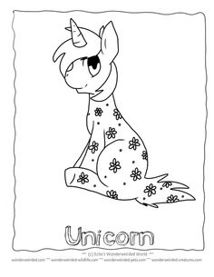 Unicorn Coloring Page for Kids FREE to print at www.wonderweirded-creatures.com/unicorn-coloring-page-for-kids.html from our Fantasy Coloring Pages Collection, Unicorn Picture with flowers ADORABLE !