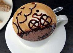 bike art in a cup of coffee